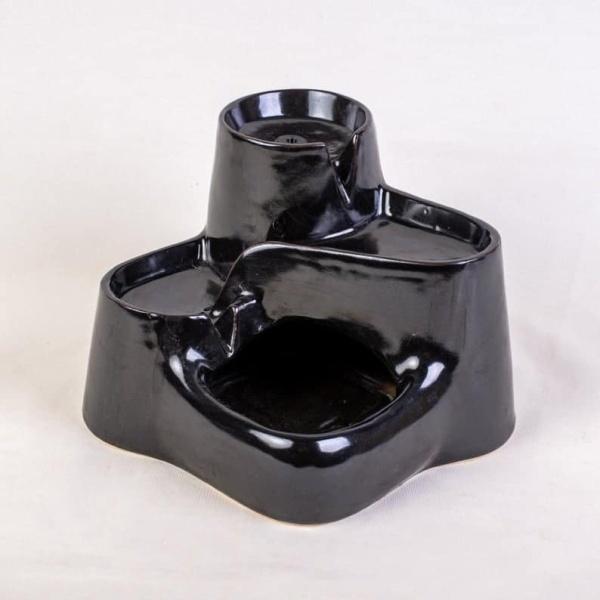 Miaustore kleine keramische drinkfontein zwart
