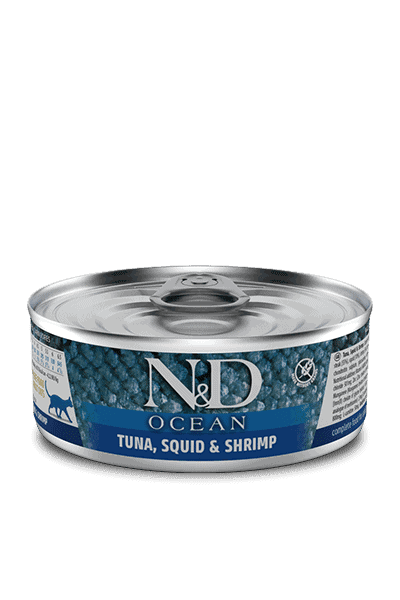 Farmina N&D Ocean Tonijn, inktvis & garnalen natvoer kat