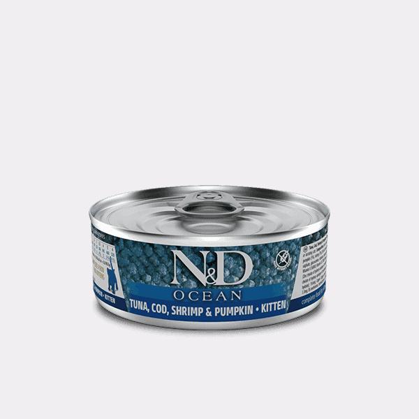 Farmina N&D Ocean Tonijn, kabeljauw, garnalen & pompoen natvoer kitten