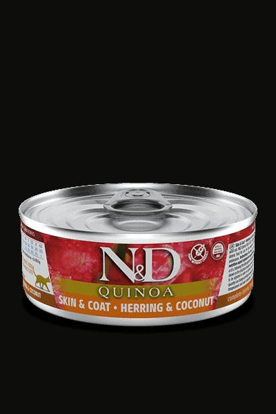 Farmina N&D Quinoa Skin & Coat Haring & kokosnoot natvoer kat