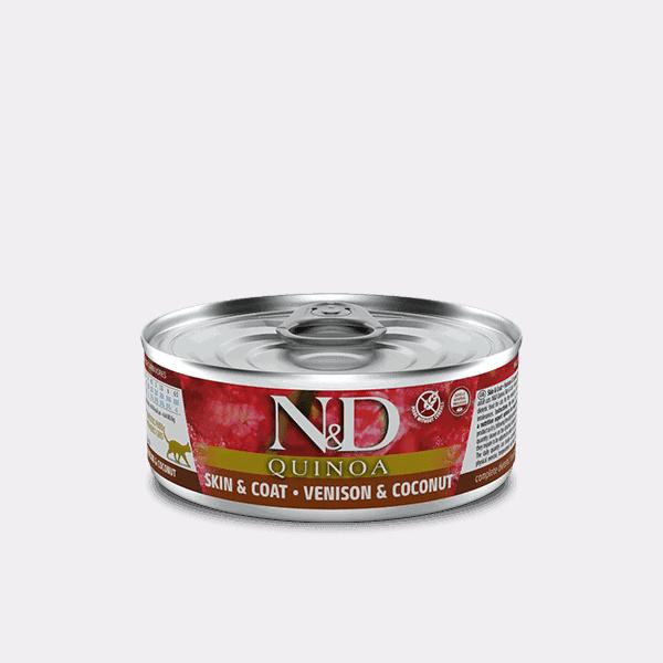 Farmina N&D Quinoa Skin & Coat Hert & kokosnoot natvoer kat