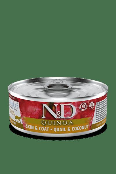 Farmina N&D Quinoa Skin & Coat Kwartel & kokosnoot natvoer kat